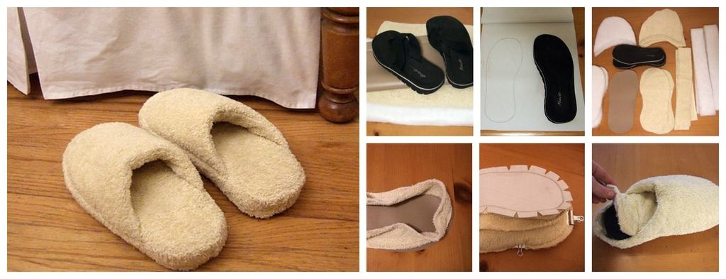 Flip flop and bath towel spa slippers