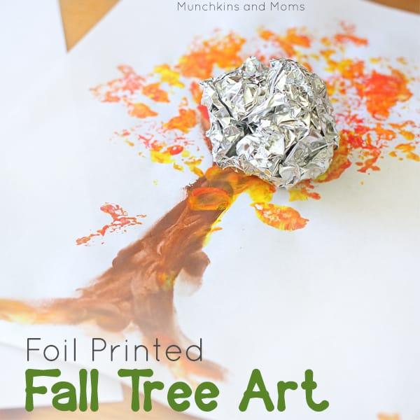 Foil printed fall tree art