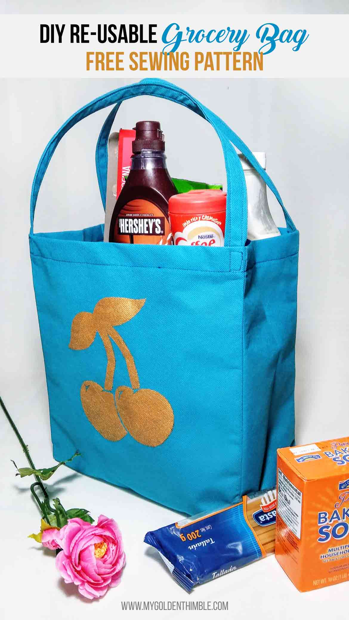 Free reusable grocery bag sewing pattern