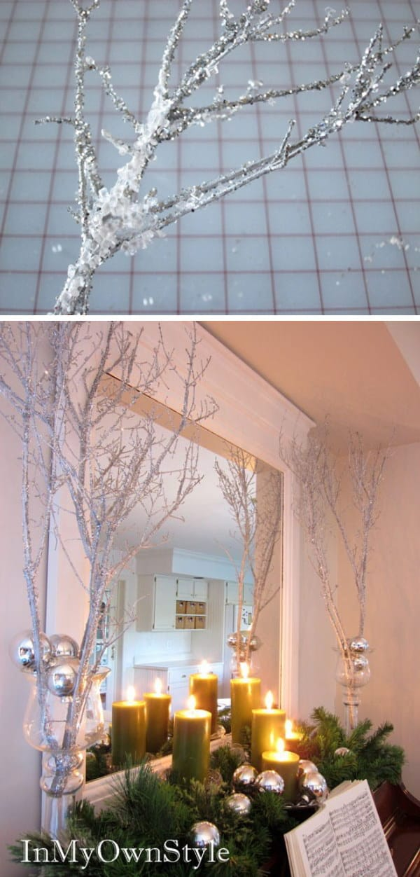 Frosted looking glitter branches