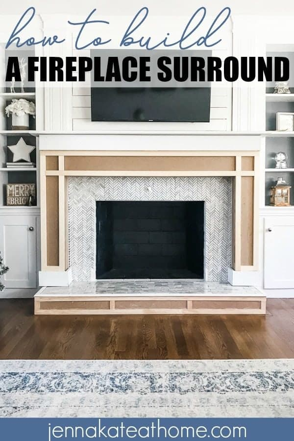 Herringbone tile fireplace surround 15 DIY Fireplace Surrounds (Awesome Ideas)