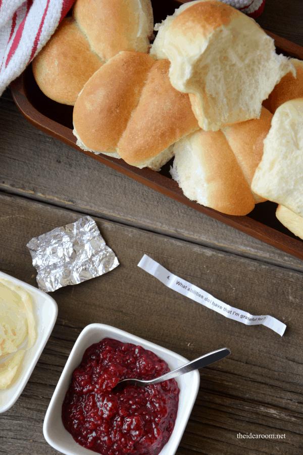 Homemade Thanksgiving thankful rolls