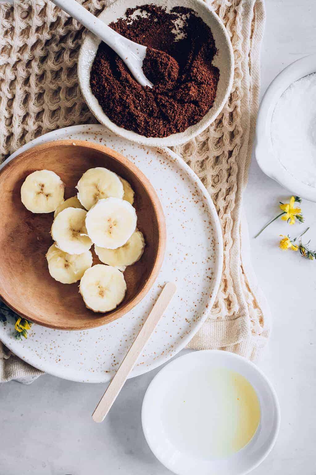 Homemade coffee banana foot scrub