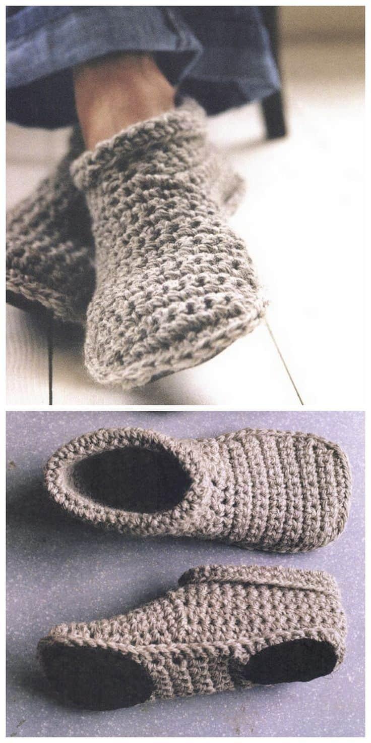 Homemade cozy crocheted slippers