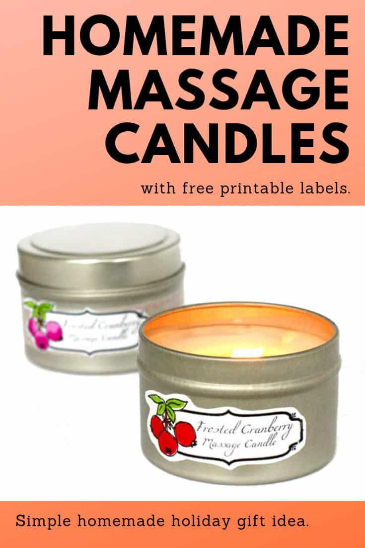 Homemade cranberry massage candles