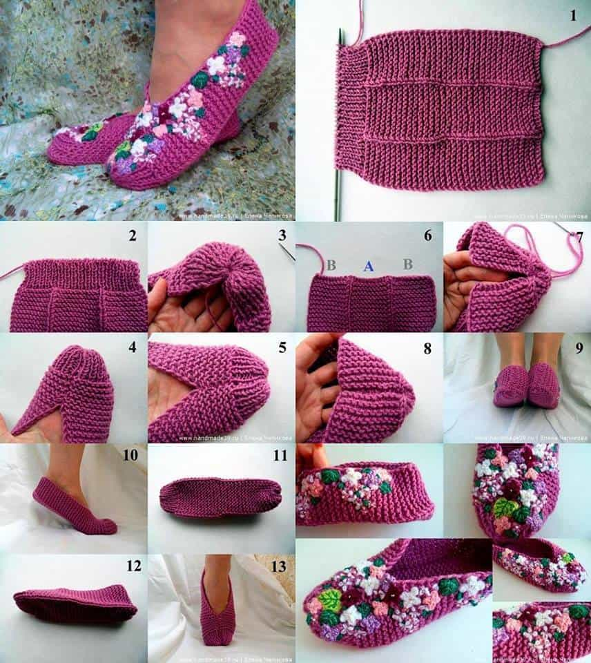 Knitted floral home slippers