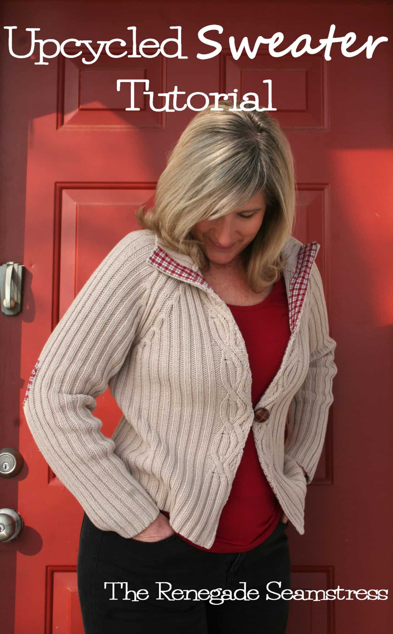 Large thrift shop sweater and old top to pretty classic cardigan