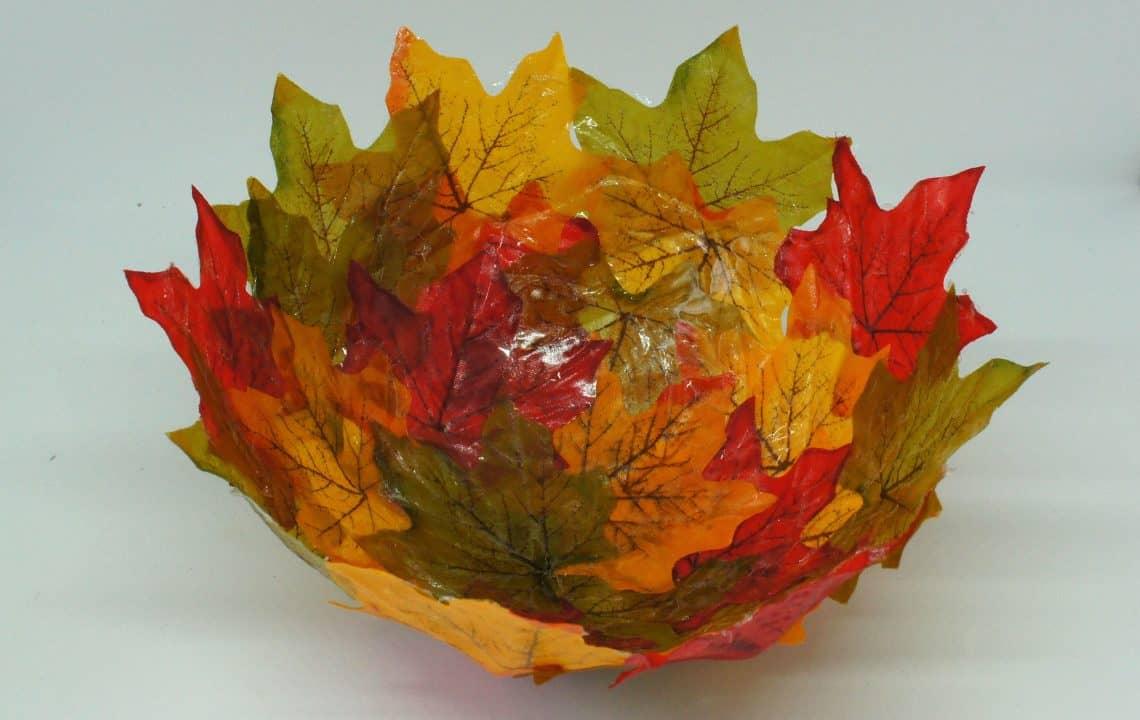 Leaf decoupage bowls