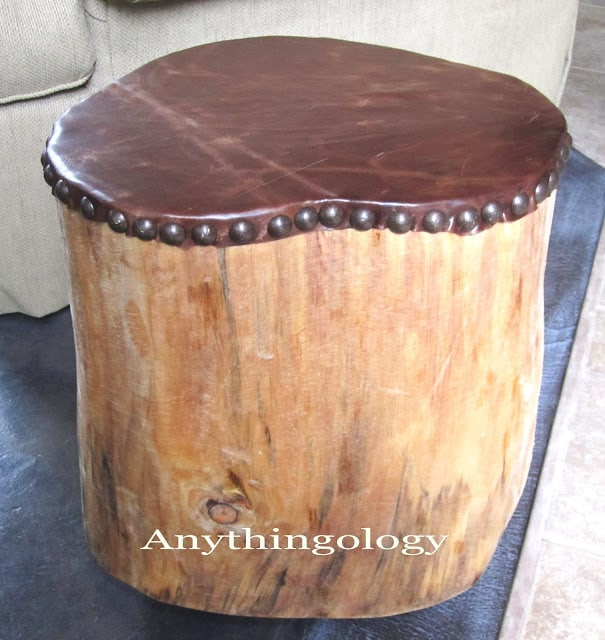 Leather and stump studded stool