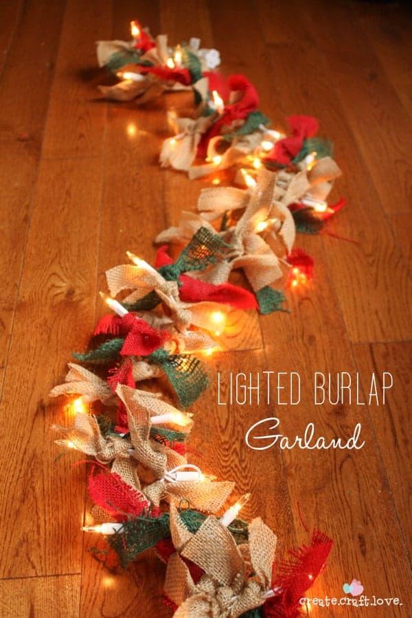 Lighted butlap knot garland