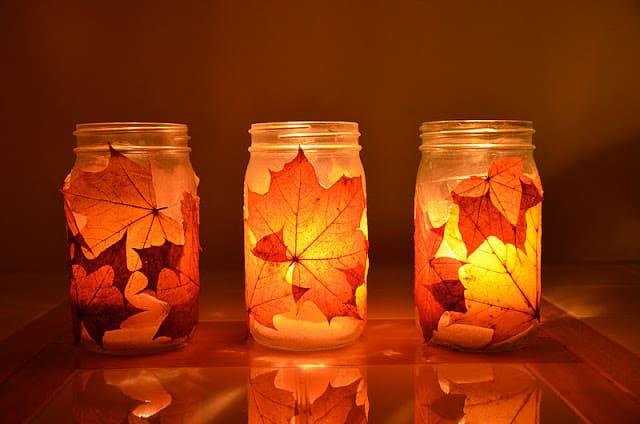 Make autumn leaf lanterns