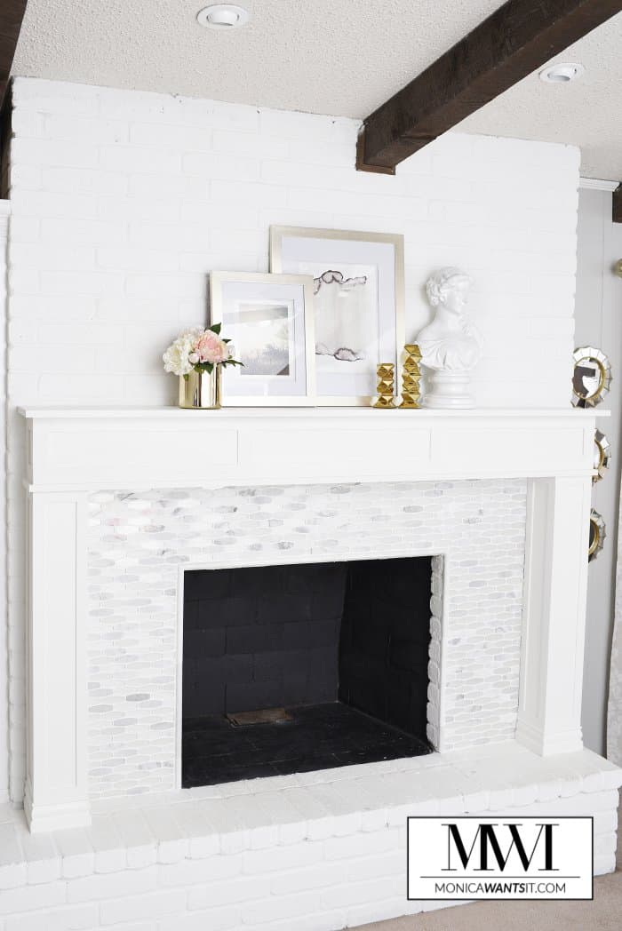 Marble fireplace and mantel makeover
