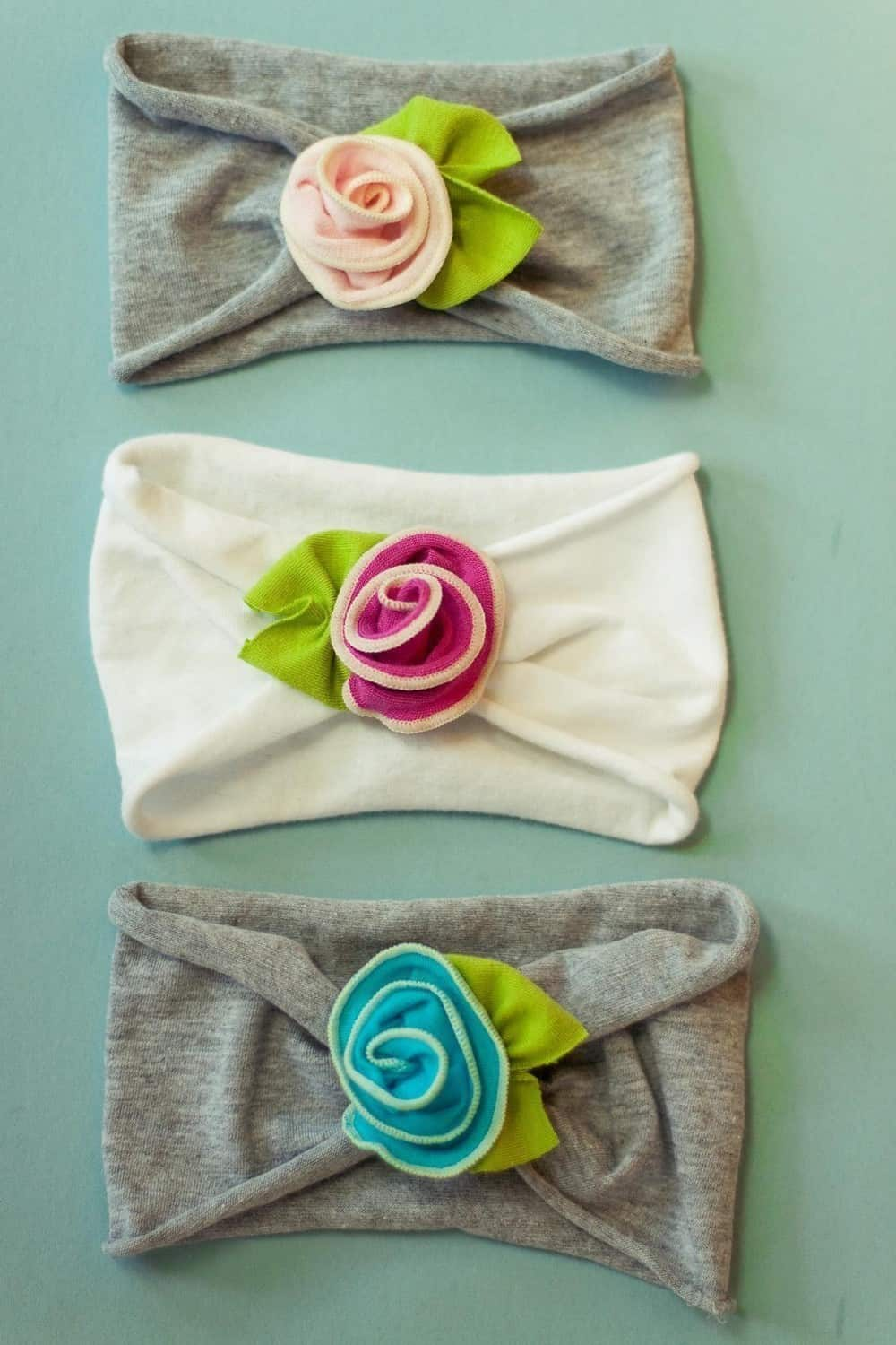 Old t-shirt headband with pretty rose accent