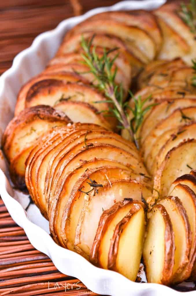 Oven roasted sliced parmesan potatoes