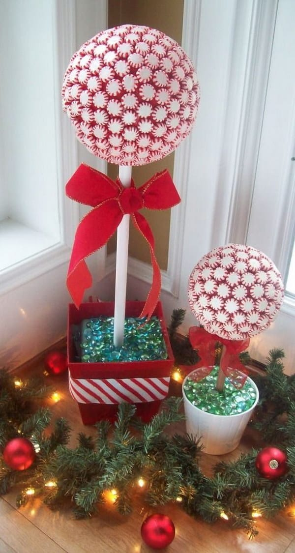 Peppermint candy holiday topiaries