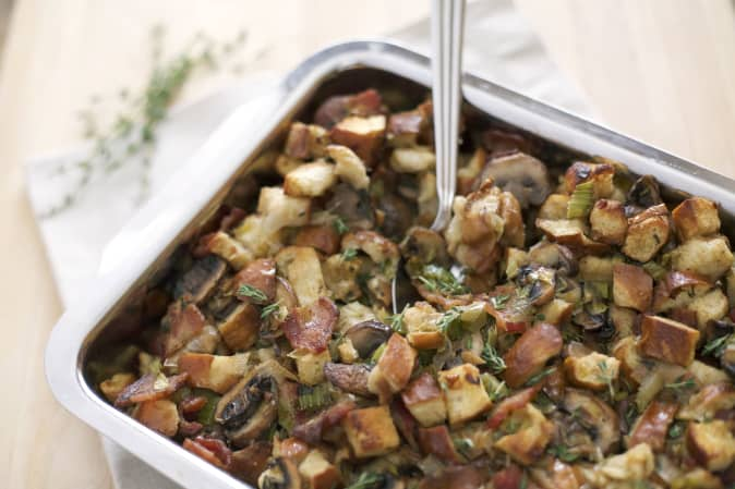 Pretzel bread stuffing with bacon, leeks, and mushrooms