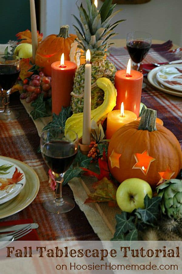 Pumpkin, pineapple, and gourd table scape