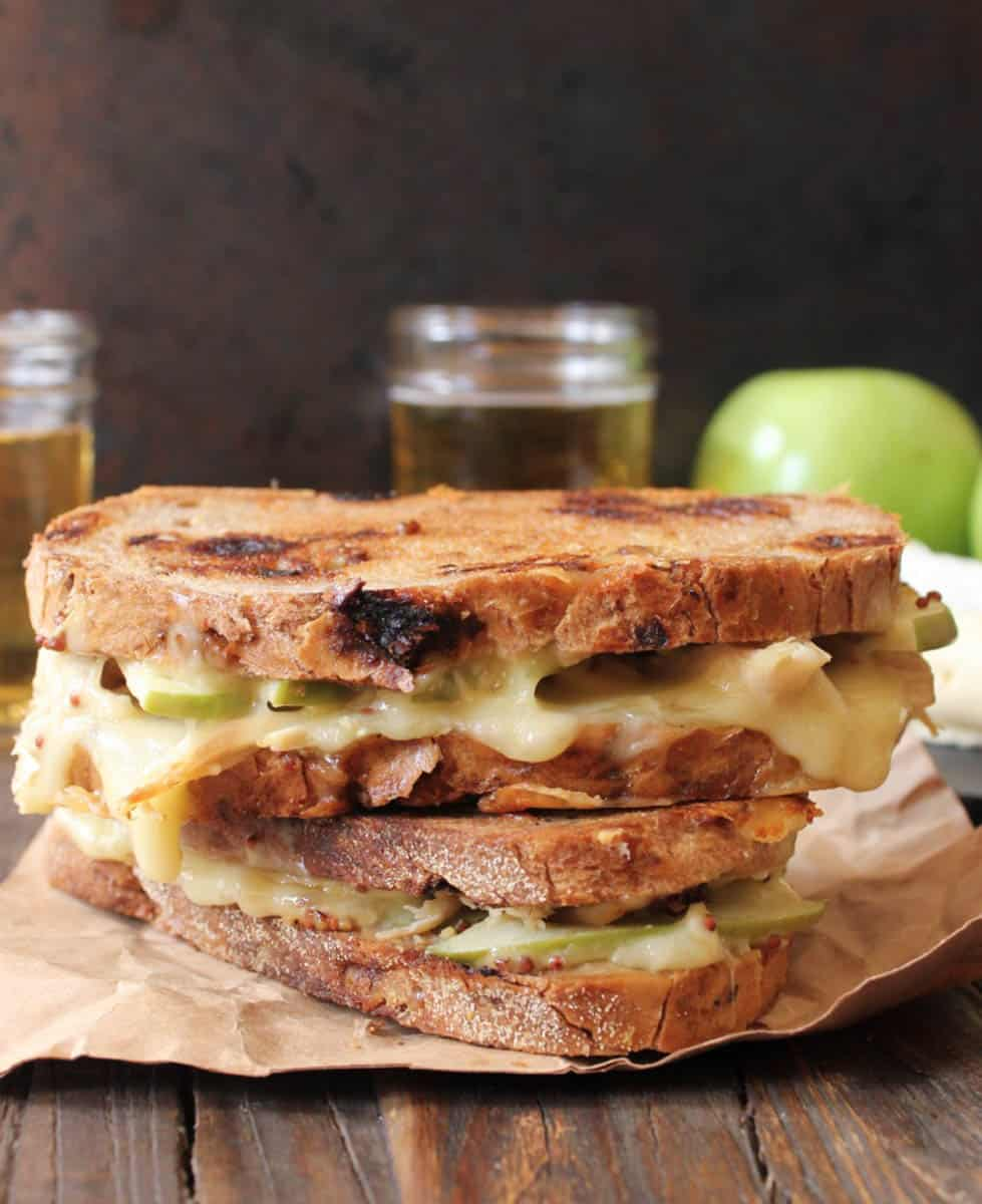 Roast chicken, apple, and brie grilled cheese