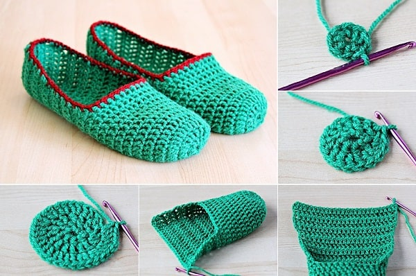 Rounded toe crochet slippers
