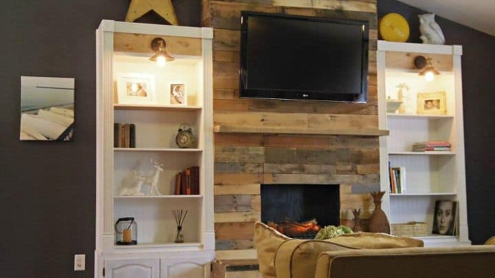 Rustic DIY wood pallet fireplace