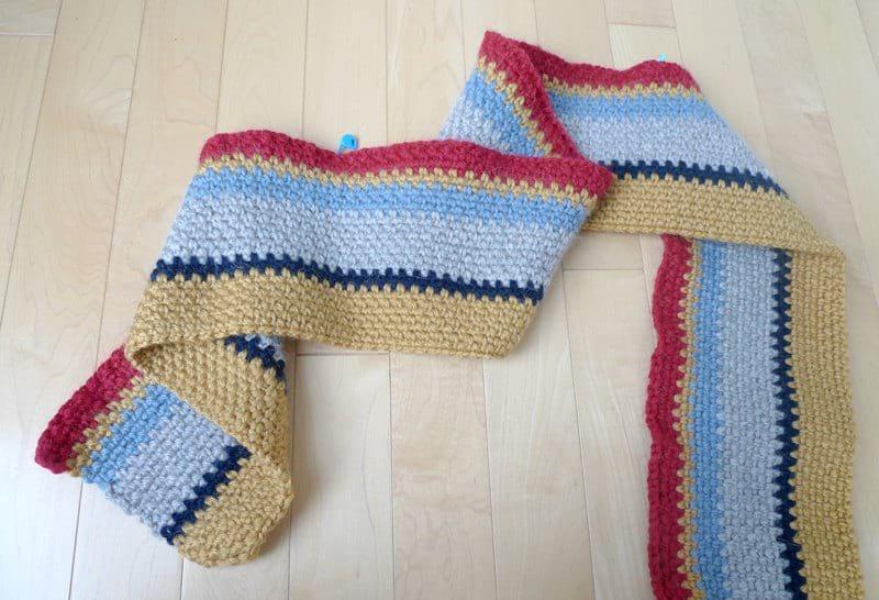 Rustic crochet scarf