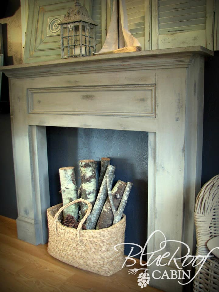 Rustic wooden faux fireplace and mantel