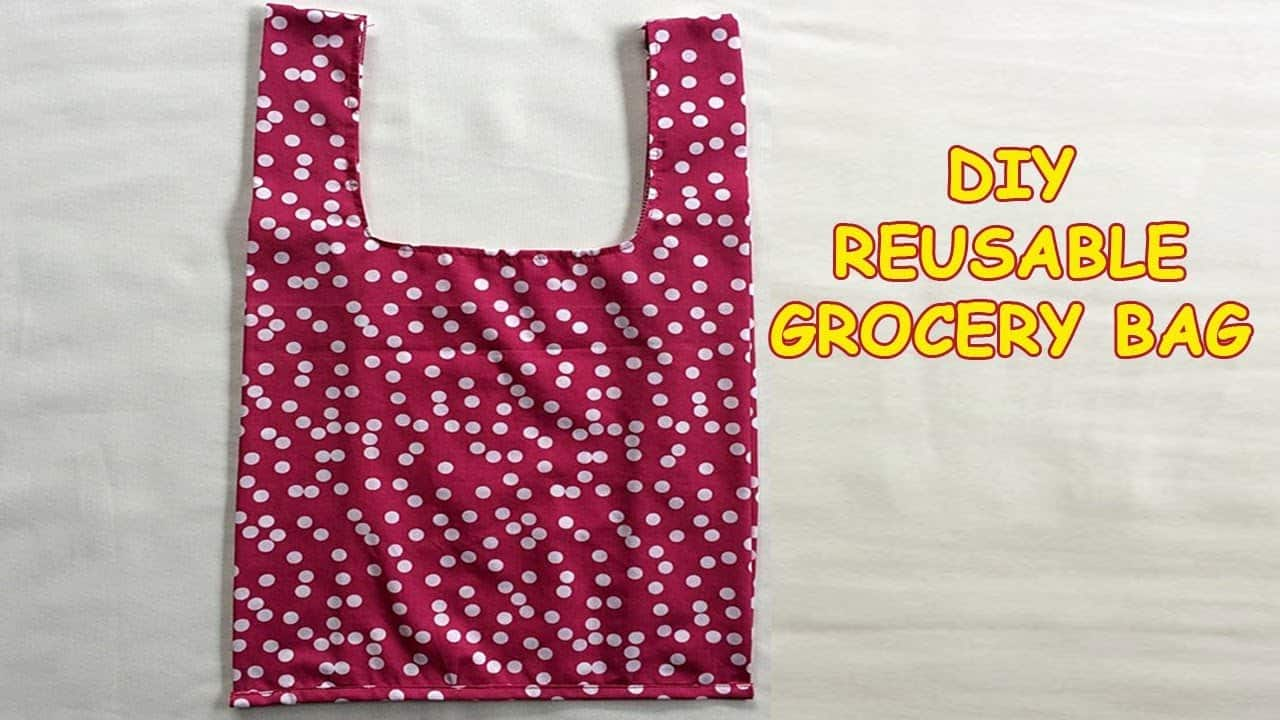 Simple sewn reusable grocery bag for beginners