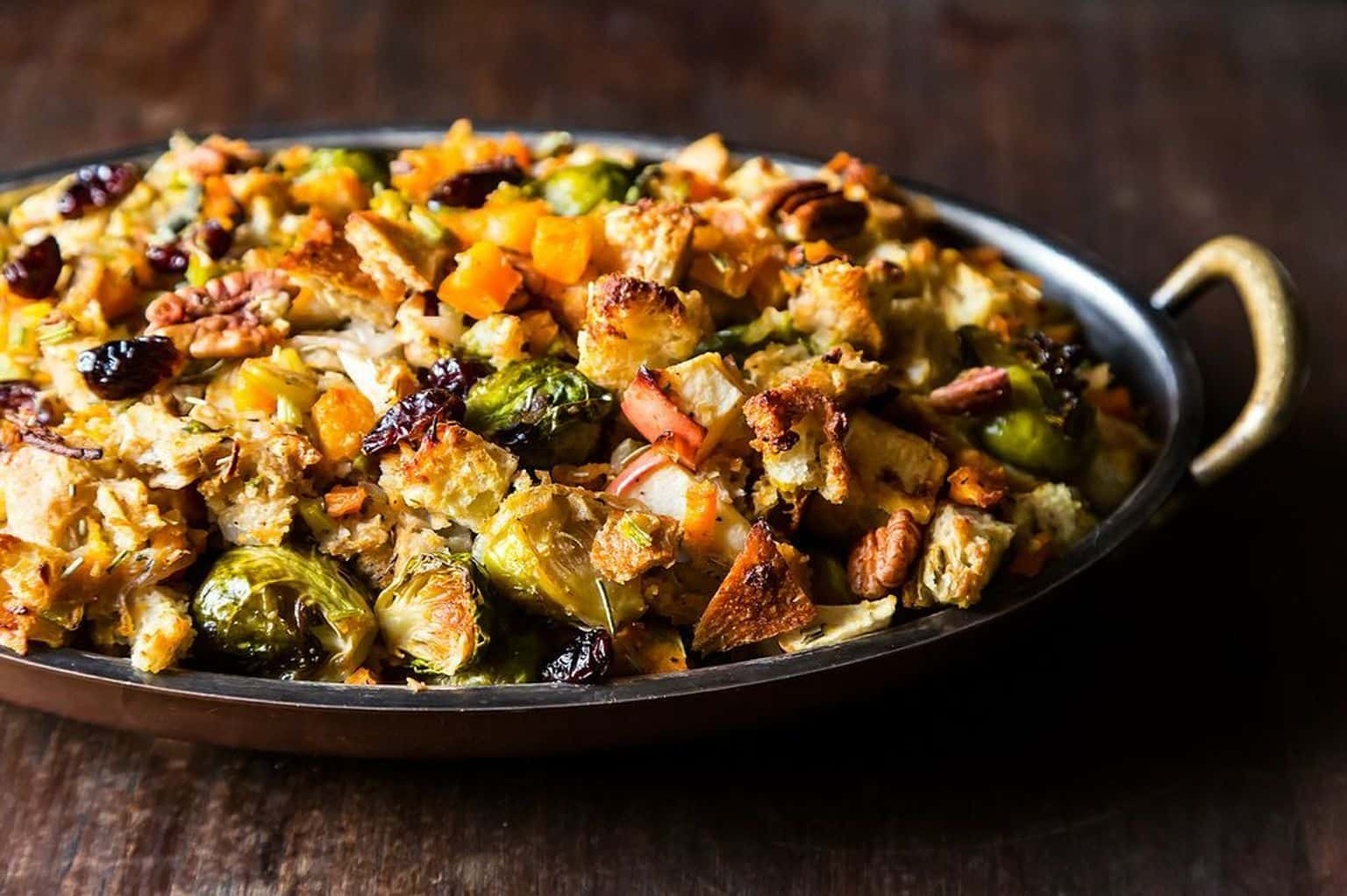 Squash, brussel sprouts, and bread stuffing with apples