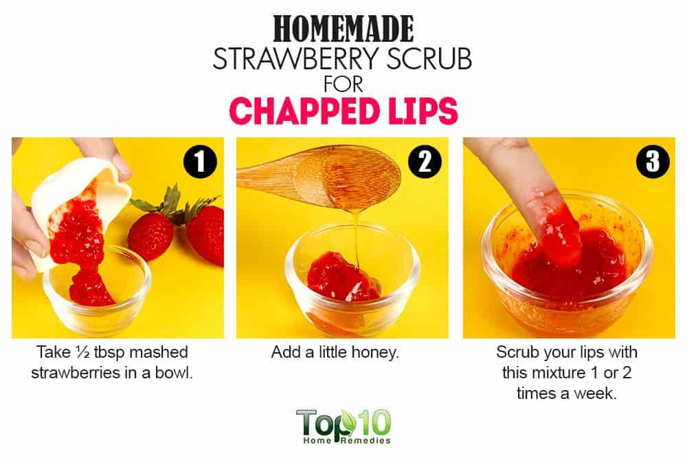 Strawberry lip scrub for very chapped lips