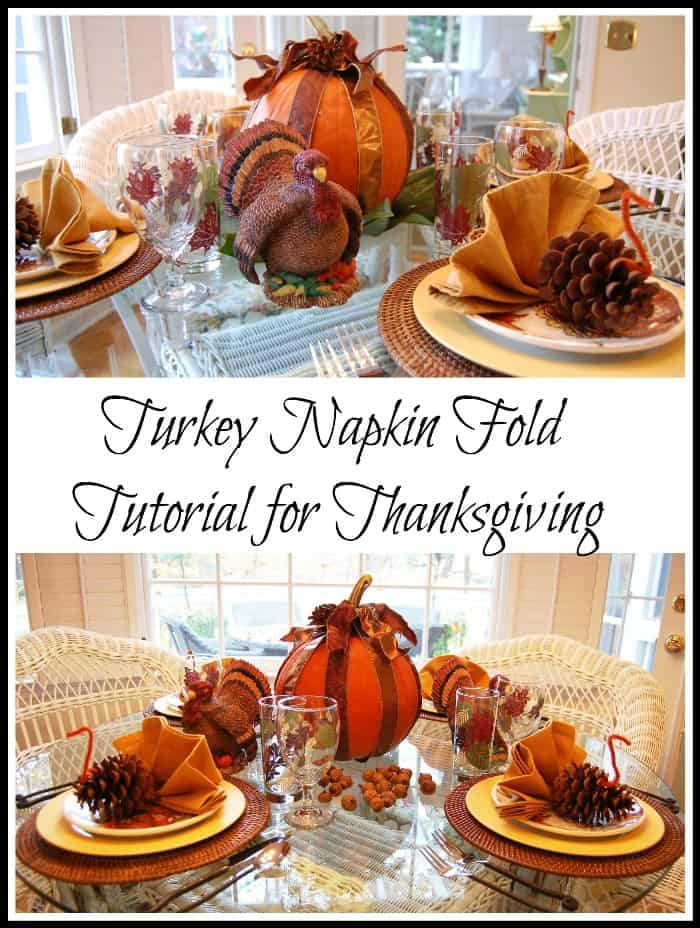 Turkey shaped folded napkins with pinecone bodies