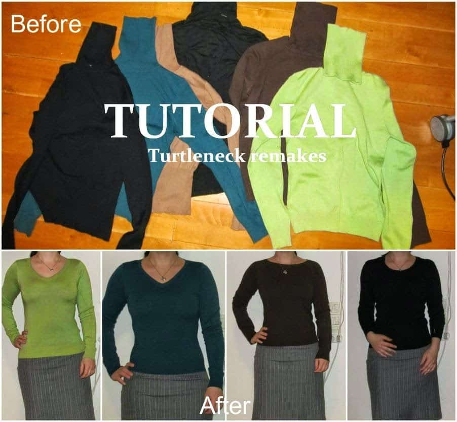 Turtleneck to V-neck sweater remake