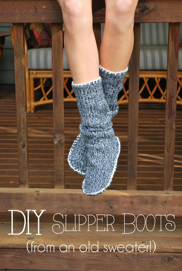 Upcycled sweater slipper boots 15 DIY Slippers for Fall with Creative Design