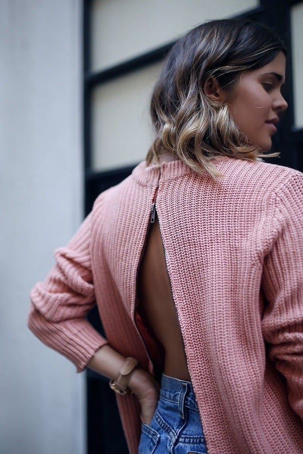Zip-back sweater refashion