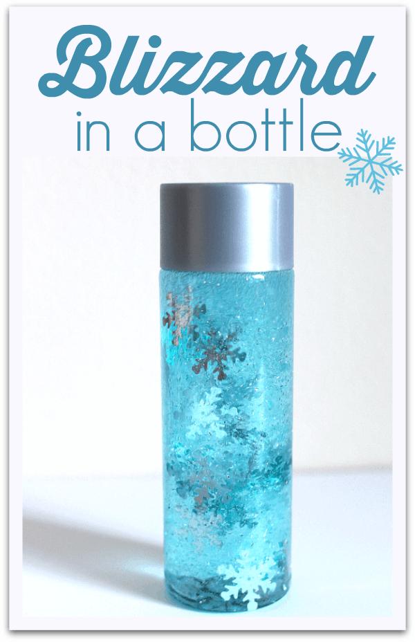 Blizzard in a bottle snowflake sensory craft