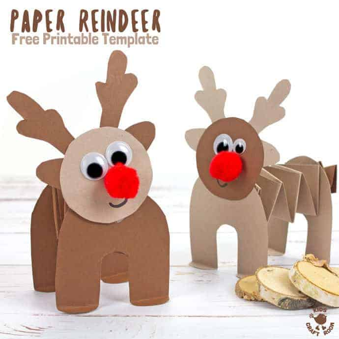 Accordion reindeer craft with template