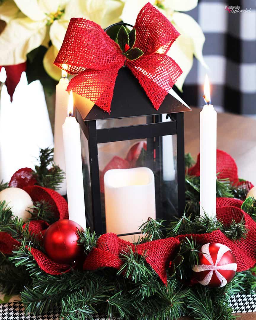 Advent wreath and lantern centrepiece