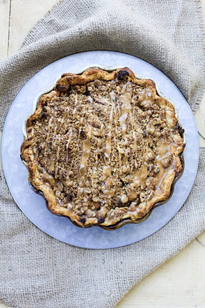 Chocolate caramel apple pie with streusel topping