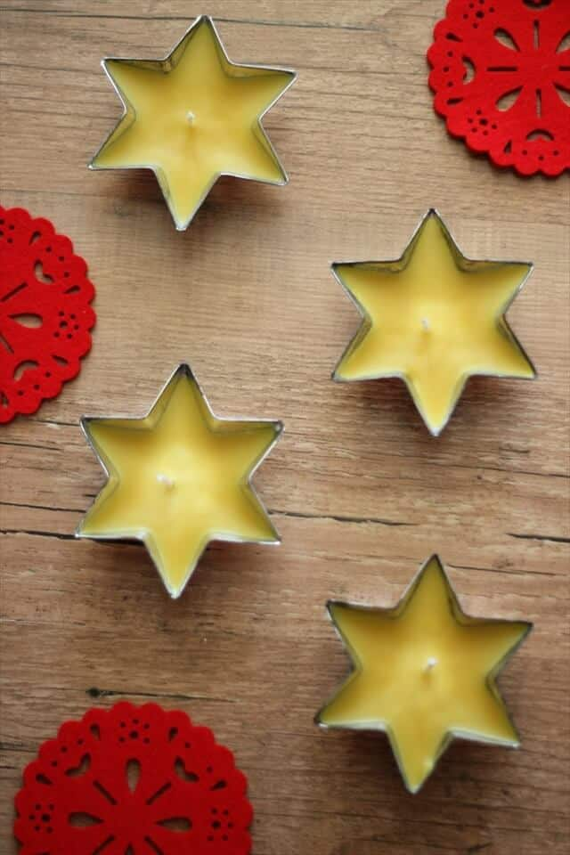 Christmas star beeswax tea light candles