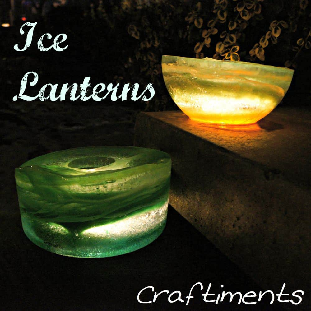 Colourful ice lanterns for winter walkways
