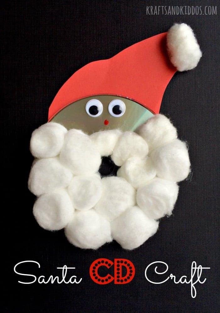 Cotton ball and CD Santa