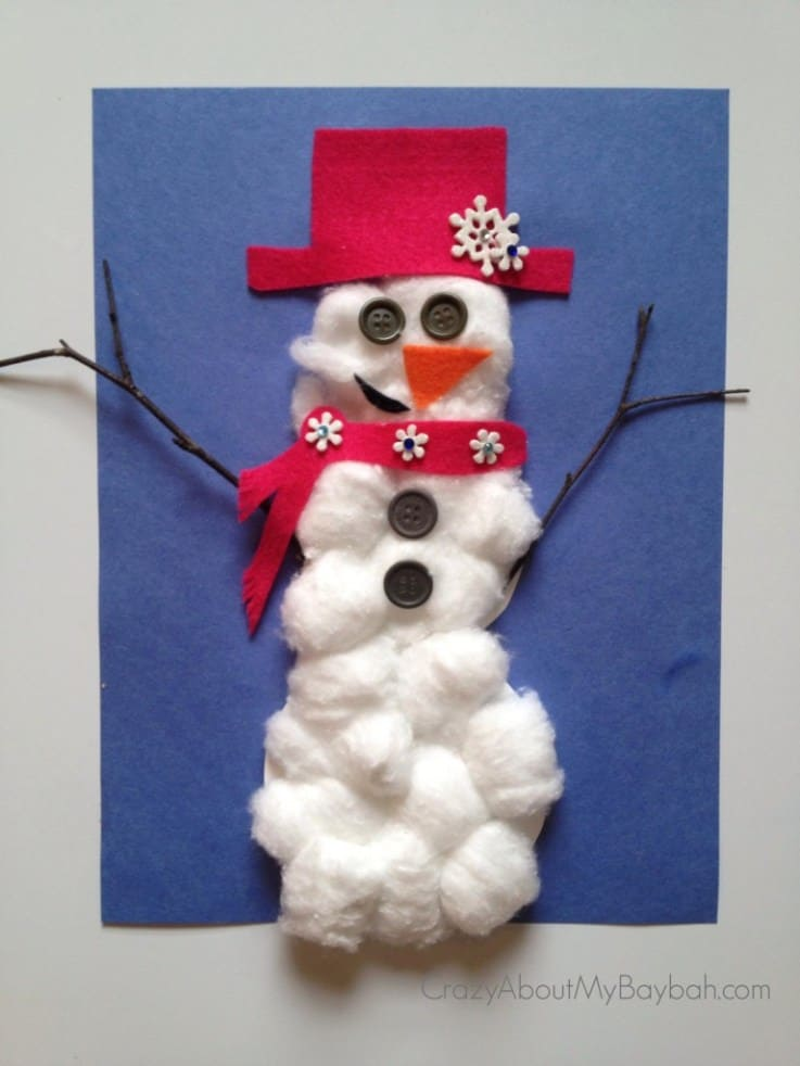 Cotton ball and felt snowman art