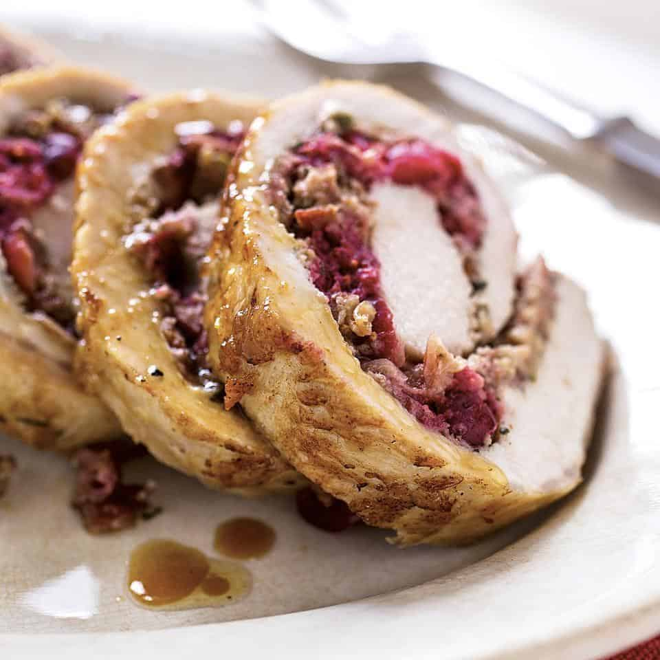 Cranberry and rosemary stuffed pork loin