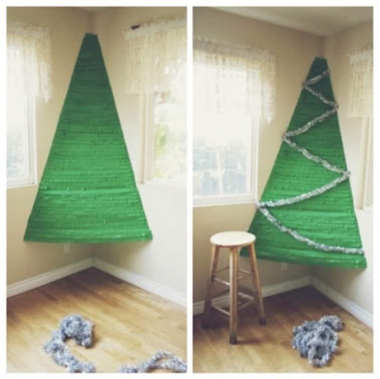 Crepe paper corner Christmas tree