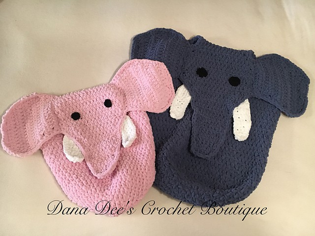 Crocheted elephant car set and pram blanket