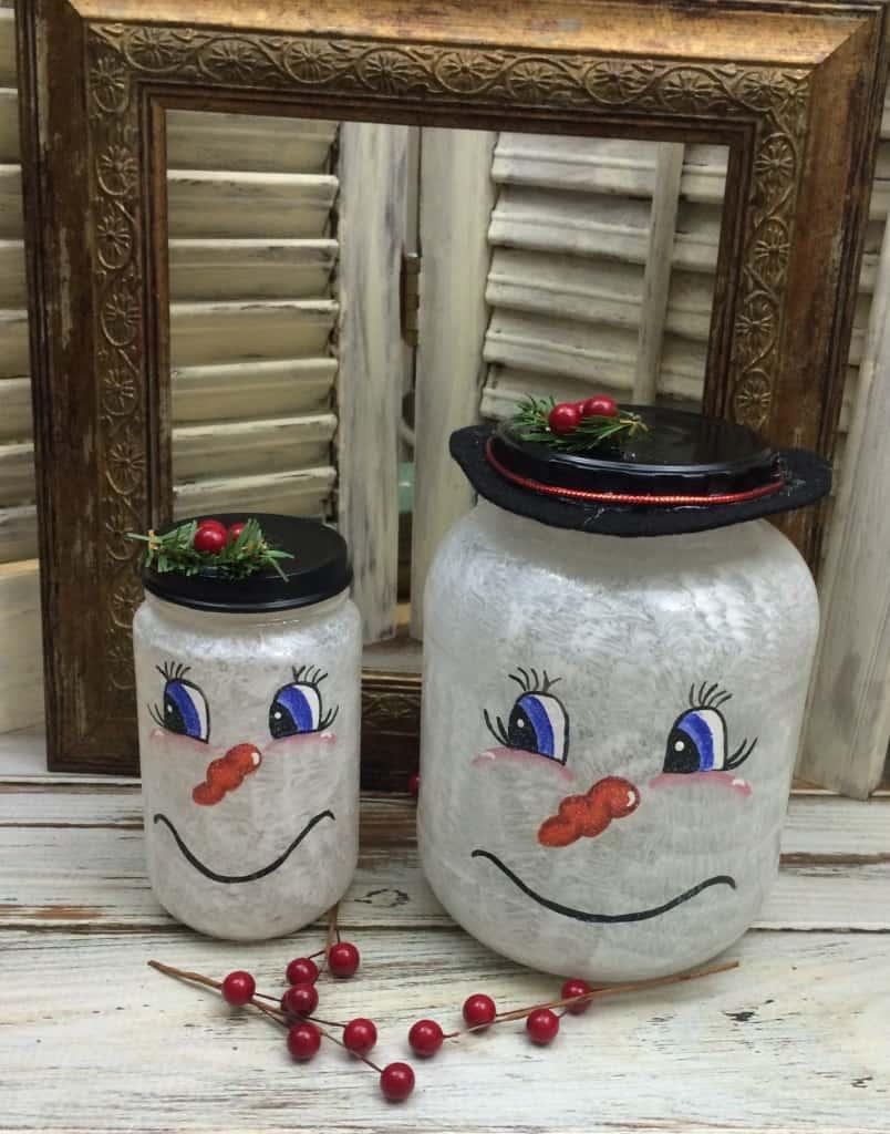 Cute DIY snowman lanterns