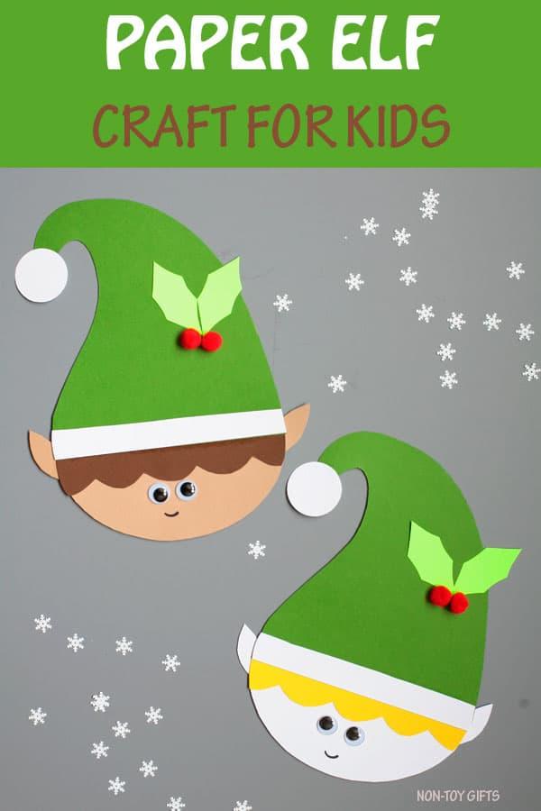 Cute paper elf craft for kids