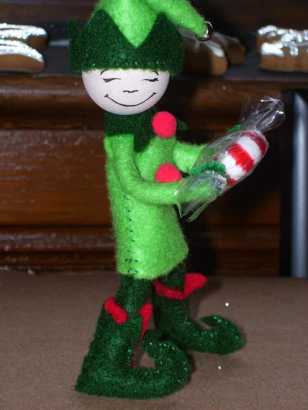 Cute standing felt elf ornament