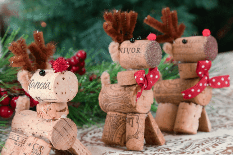 Cute standing wine work reindeers