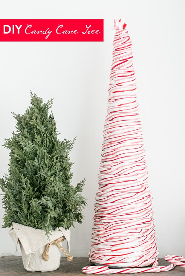 DIY candy cane tree centrepiece