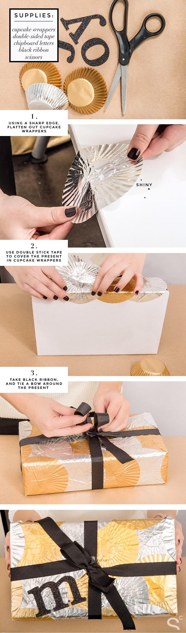DIY cupcake wrapper gift wrap